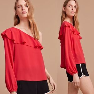 Wilfred Allaire One Shoulder Poppy Blouse Size S